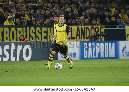 DORTMUND, GERMANY - OCT 1: Marco Reus (BVB) during a Champions League match between Borussia Dortmund & Olympique de Marseille, final score 3-0, on October 1, 2013, in Dortmund, Germany. - stock photo