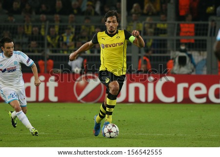 DORTMUND, GERMANY - OCT 1: Mats Hummels (BVB) during a Champions League match between Borussia Dortmund & Olympique de Marseille, final score 3-0, on October 1, 2013, in Dortmund, Germany. - stock photo