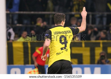 DORTMUND, GERMANY - OCT 1: Robert Lewandowski (BVB)  during a Champions League match between Borussia Dortmund & Olympique de Marseille, final score 3-0, on October 1, 2013, in Dortmund, Germany. - stock photo