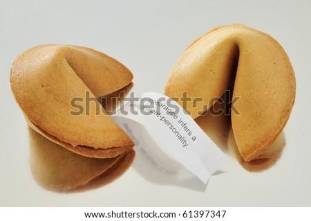 Dos galletas de la suere con mensaje - stock photo