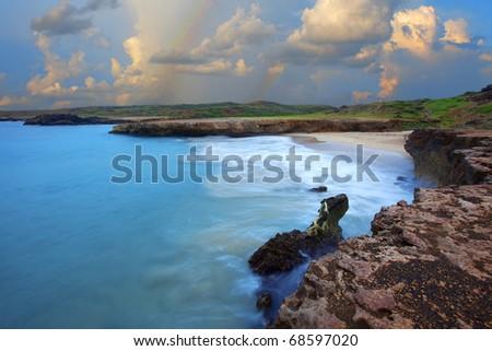 Dos Playa surfers beach on Arubas east coast - stock photo
