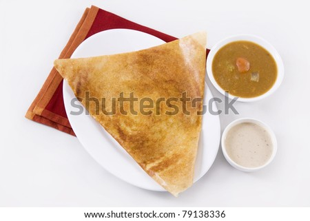 Dosa Sambar with Coconut Chutney - stock photo