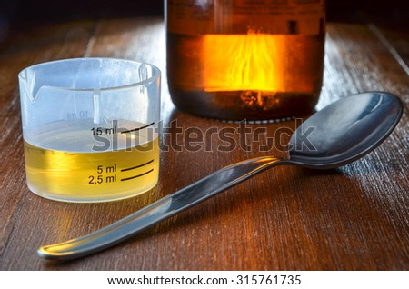 dose of yellow cough syrup with measure cup, spoon and medicine bottle - stock photo