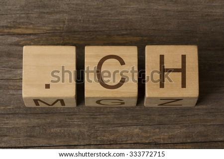dot ch - internet domain for Switzerland, Confoederatio Helvetica (Latin) - stock photo