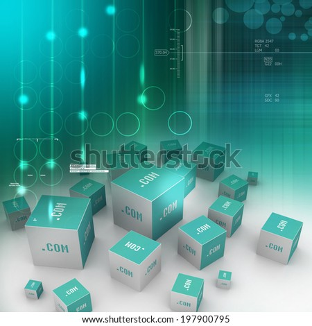 Dot com domain in cubes - stock photo