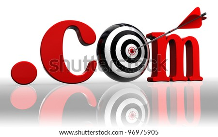 dot com red word and conceptual target with arrow on white background