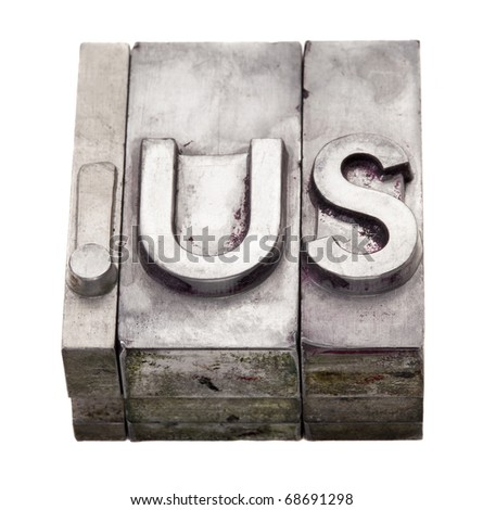 dot us - internet country code top?level domain  for USA,  grunge metal letterpress printing blocks, stained by color inks, isolated on white - stock photo