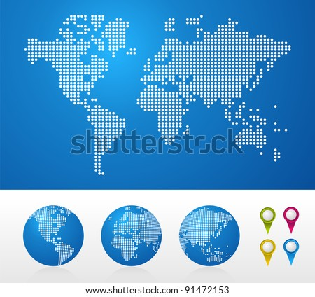 Dot World maps and globes business background. - stock photo