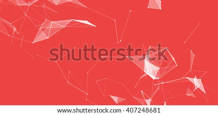 Dots and triangles background with particle, molecule structure. genetic and chemical compounds. creative Space and constellations. Science and connection concept. Social network. Red  banner - stock photo