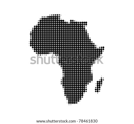 Dotted Africa's map - circle pattern - stock photo