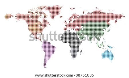 dotted and painted colorful world map isolated on white - stock photo