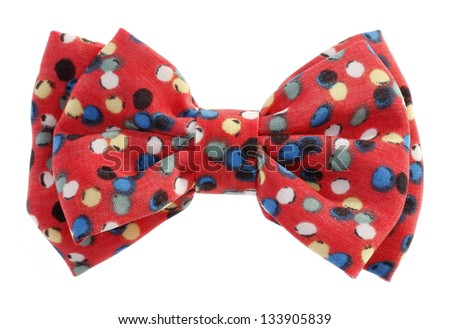 Dotted bow tie red with multicolor spots - stock photo