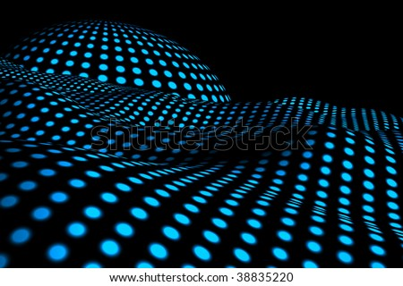 dotted 3d alien landscape. By changing the HUE setting, it can have basically any color. - stock photo
