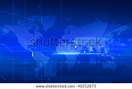 dotted digital world map on tech background - stock photo