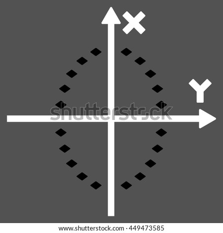 Dotted Ellipse Plot glyph toolbar icon. Style is bicolor flat icon symbol, black and white colors, gray background, rhombus dots.