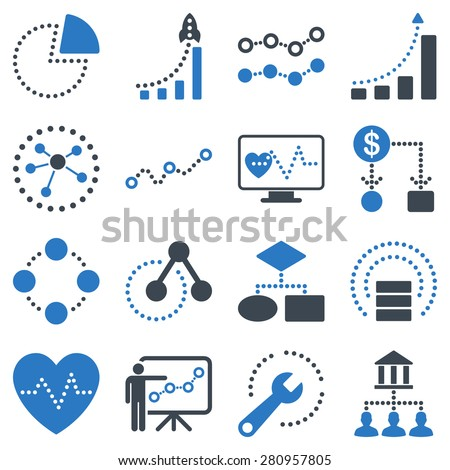 Dotted infographic business icons. This bicolor raster icon set uses smooth blue color scheme. Images are on a white background. - stock photo
