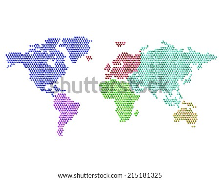 Abstract world map vectores en stock 49984153 shutterstock dotted map of the world continents random fill color continents gumiabroncs Image collections