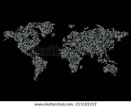 Dotted Map of the World Continents Random Fill Gray-scale Black - stock photo
