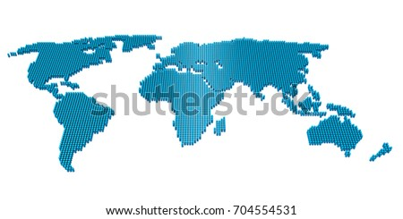 Dotted Pixel World Map Isolated. 3D rendering