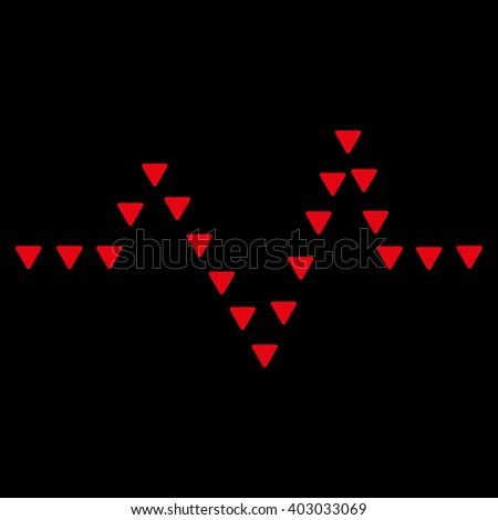 Dotted Pulse raster icon. Dotted Pulse icon symbol. Dotted Pulse icon image. Dotted Pulse icon picture. Dotted Pulse pictogram. Flat red dotted pulse icon. Isolated dotted pulse icon graphic. - stock photo