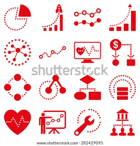 Dotted raster infographic business icons. This raster icon set uses red color and white background. - stock photo
