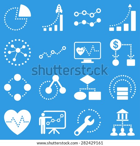 Dotted raster infographic business icons. This raster icon set uses white color and blue background. - stock photo