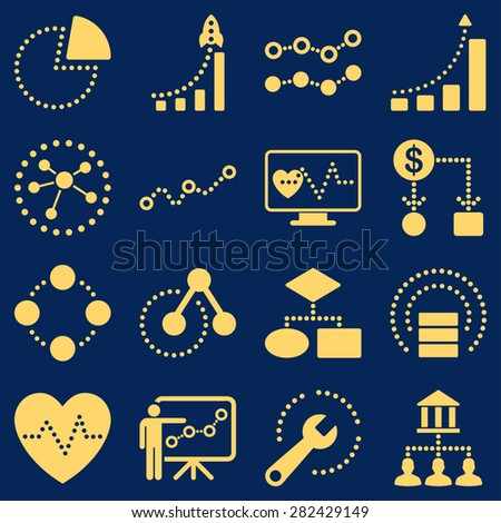 Dotted raster infographic business icons. This raster icon set uses yellow color and blue background. - stock photo