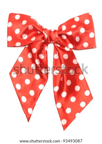 dotted red satin gift bow isolated on white - stock photo