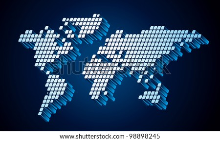 Dotted (Square Pixel) World Map. Rasterized Version - stock photo