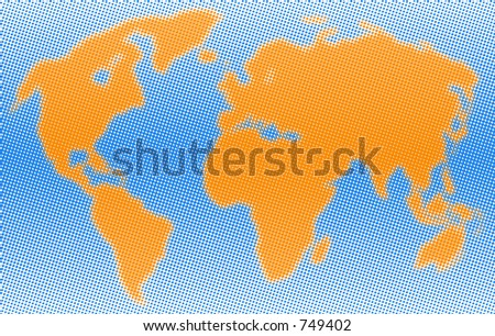 Dotted world. A map of the world consisting of Blue and Orange dots. - stock photo