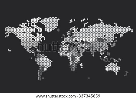 Dotted World map of hexagonal dots on dark background. - stock photo