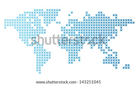Dotted world map. Raster version. Vector version is also available. - stock photo
