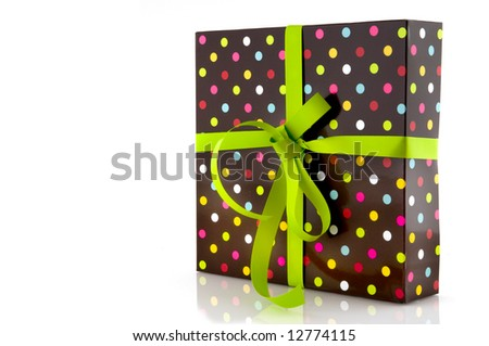 dotted wrapped surprise with green bow
