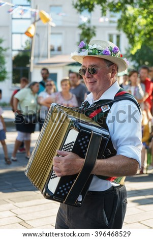 DOUAI, FRANCE - JULY 12, 2015: Musician performs in the festival of Gayant.  Each year for three days at the beginning of July, the Gayant festival takes place.