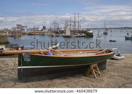 Douarnenez, France - July 22, 2016.  Wooden small boat in the harbor for the maritime festival