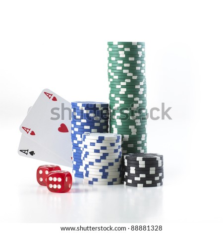 double aces with big stack and dice over white background