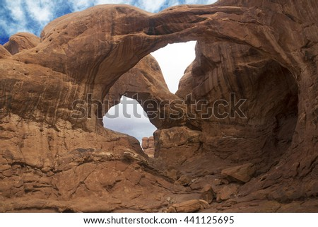 Double Arch, Arches National Park Moab Utah - stock photo