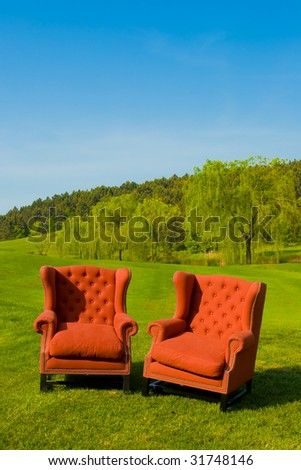 double armchair on the grass - stock photo