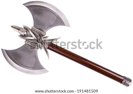 Double axe by diagonal, isolated on white background - stock photo