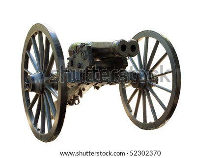 Double barrel cannon from the civil war isolated on white - stock photo