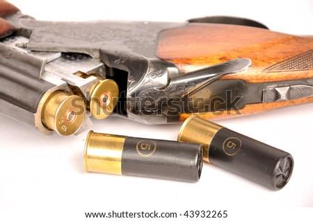 Double barrel shotgun - stock photo