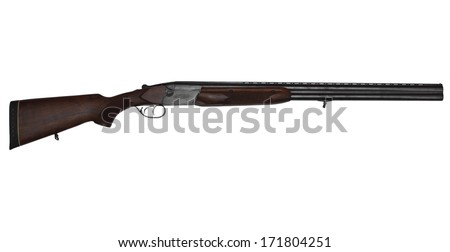 Double-barrelled hunting gun isolated on white background - stock photo