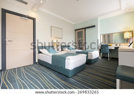 Double bed hotel bedroom