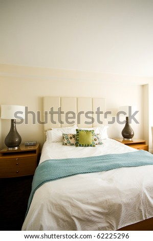 Double bed in the modern interior room - stock photo