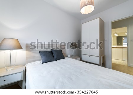 Double bed in the modern interior room, scandinavian style