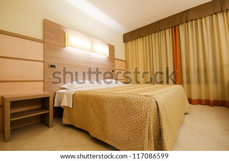 Double bed in the modern room - stock photo