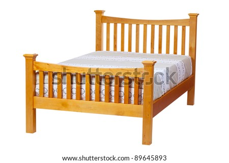 Double bed isolated over white. With clipping path.