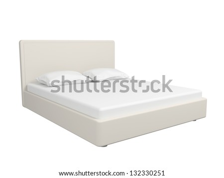 Double bed with a sheet and pillows. Isolated on a white background. - stock photo