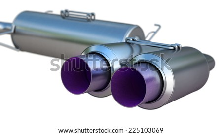 double Car Exhaust Pipe chromed isolated on white background. High resolution 3d - stock photo