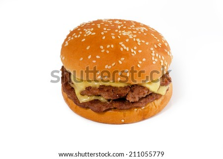 Double Cheese Burger - stock photo
